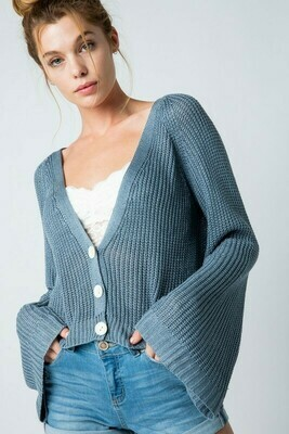 Cropped Bell Sleeve Cardigan
