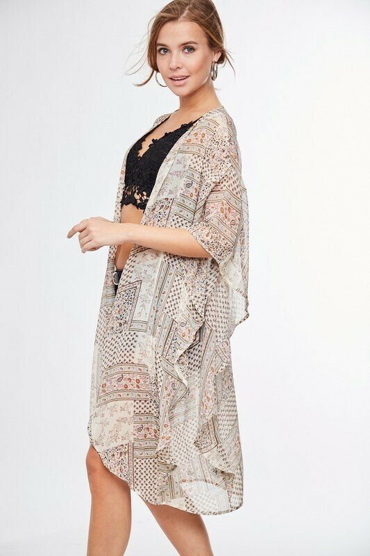 Patchwork Printed Kimono