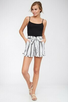 Striped Belted Shorts