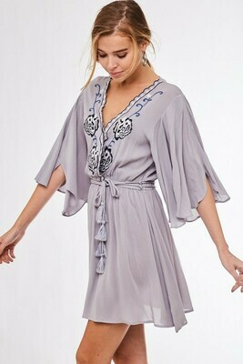 Surplice Embroidered Flare Dress