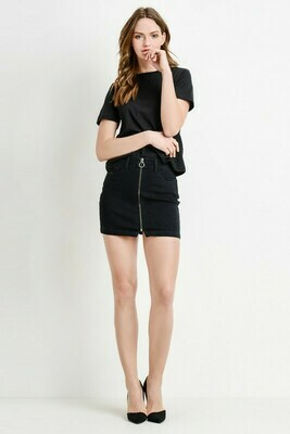 Zoey Front Zip Denim Skirt