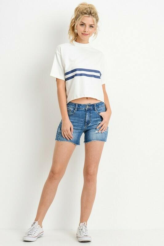Susie High Waist Frayed Hem Shorts