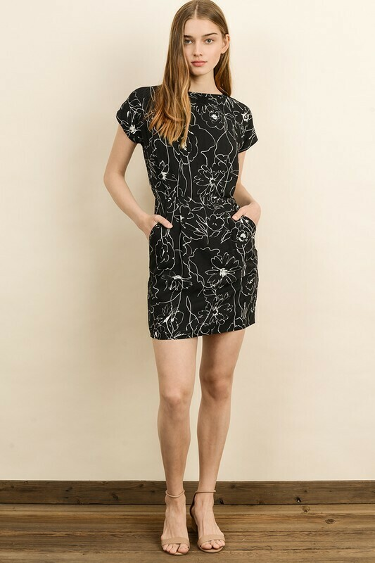 Tracy Floral Boat Neck Dress