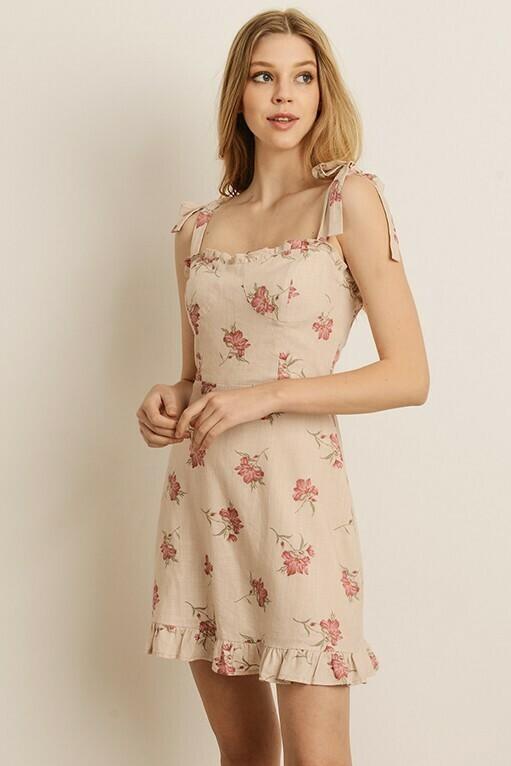 Shoulder Tie Floral Print Dress