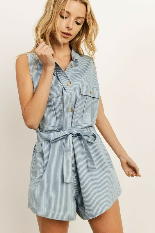 Striped Denim Romper
