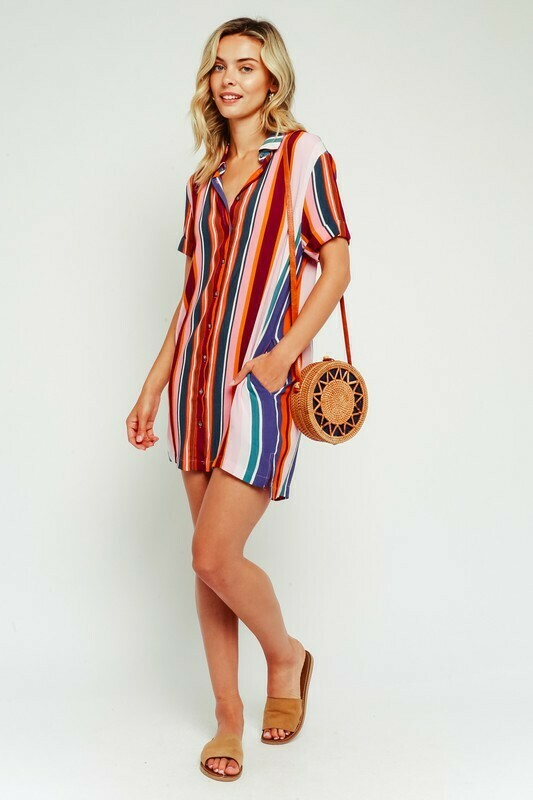 Multi Stripe Shirt Dress