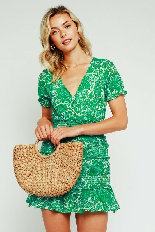 Green Palm Smocked Dress
