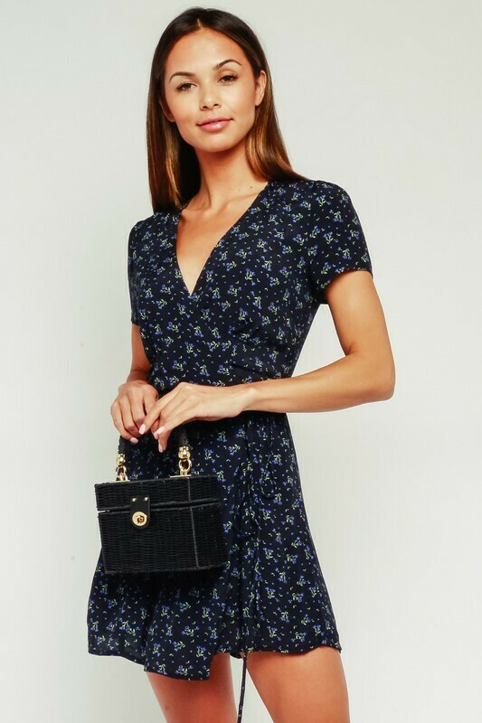 Blueberry Wrap Floral Dress