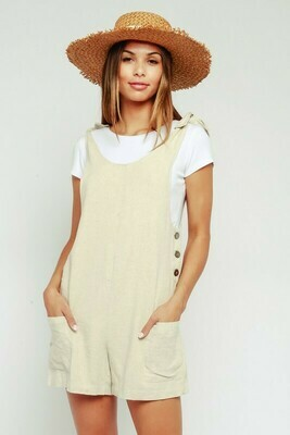 Natural Side Button Romper
