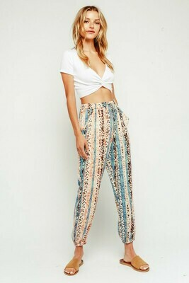 Leopard Border Drawstring Jogger Pants