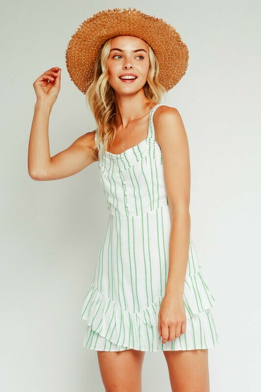 Green Embroidered Striped Ruffle Dress