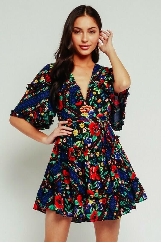 Gypsy Floral Ruffle Open Back Dress