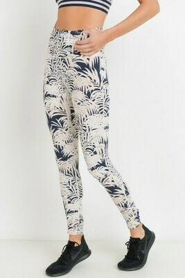 Highwaist Coconut and Palm Trees Print Leggings
