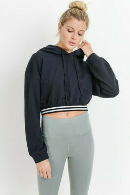 Cotton Terry Varsity Striped Hoodie Crop Top