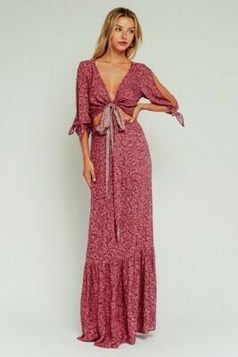 Mauve Floral Waist Tie Cutout Maxi Dress