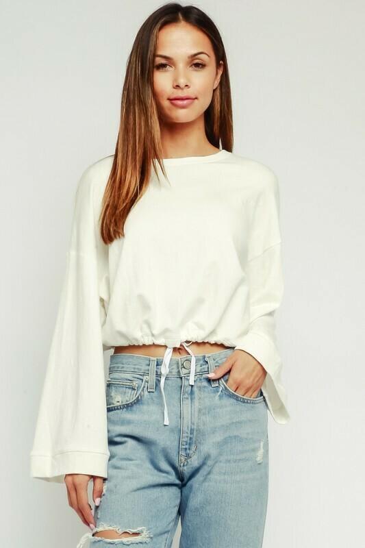 Drawstring Bell Sleeve Sweatshirt