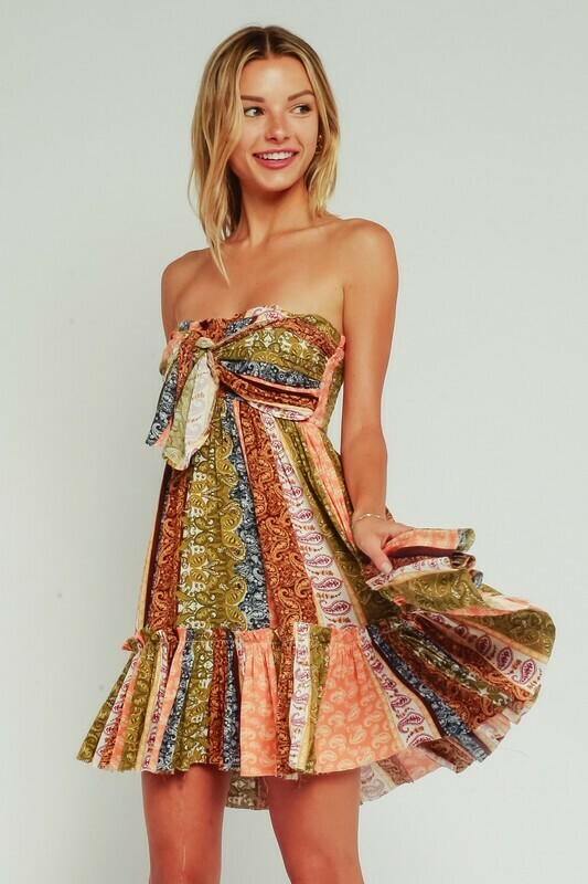 Paisley Patchwork Strapless Ruffle Dress
