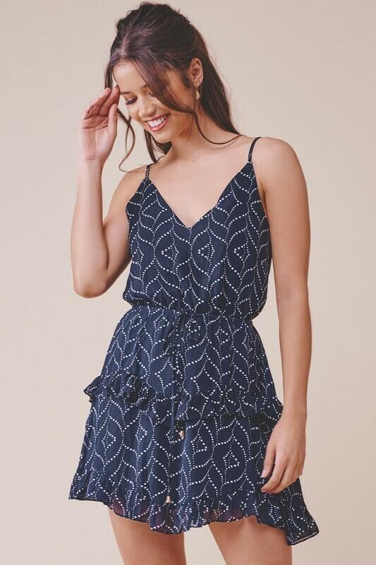 Printed Tiered Ruffle Dress