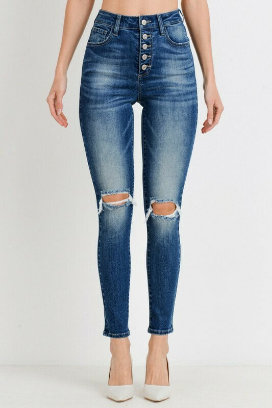 Button Down High Rise Ankle Skinny