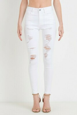 High Waist Distressed Skinny Jeans