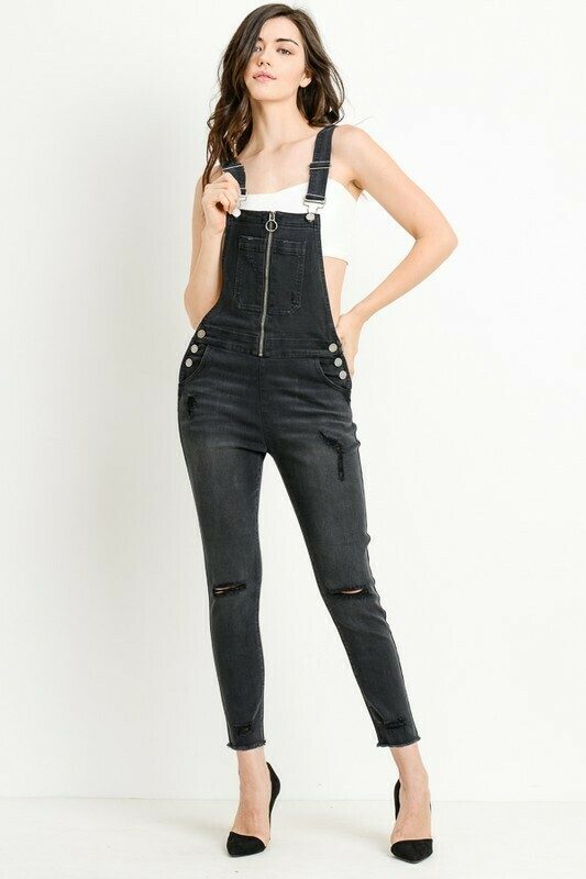 Distressed Overall with Zip Front