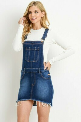 Hi-Low Denim Overall Skirt