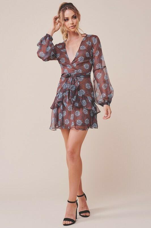 Puff Sleeve Printed Ruffle Dress