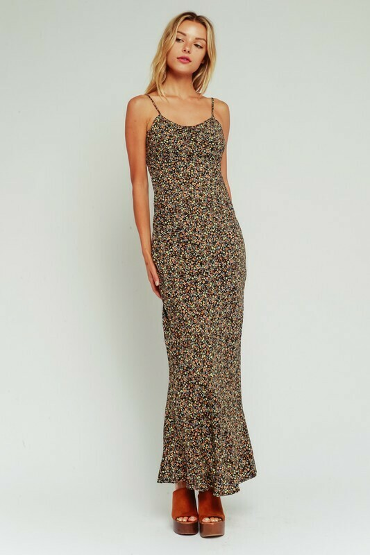 Black & Gold Ditsy Floral Maxi Dress