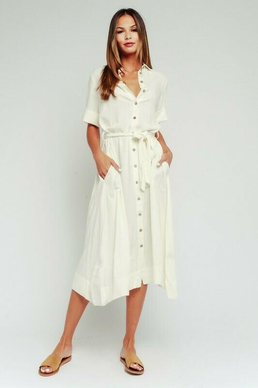 Linen Blend Belted Midi Shirt Dress