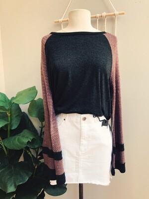 Elsie Contrast Knit Sleeve Top