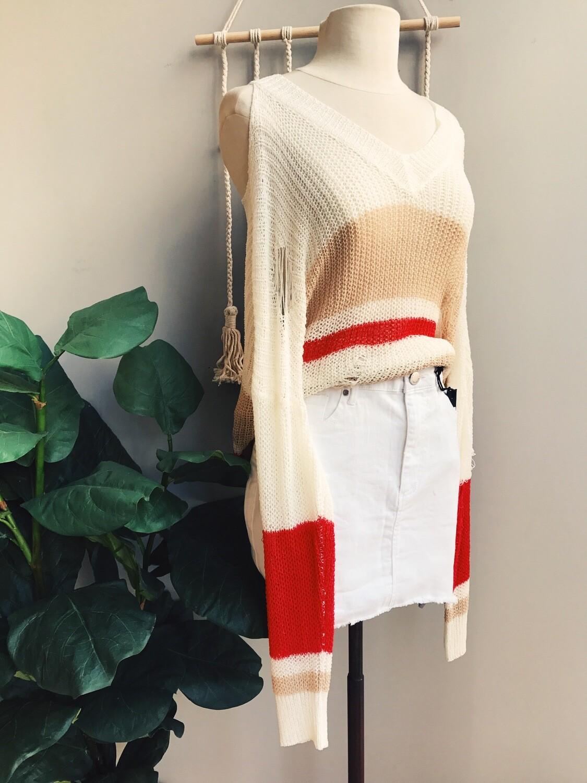 Riley Cold Shoulder Color Block Sweater