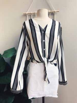 Tina Striped Front Tie Top