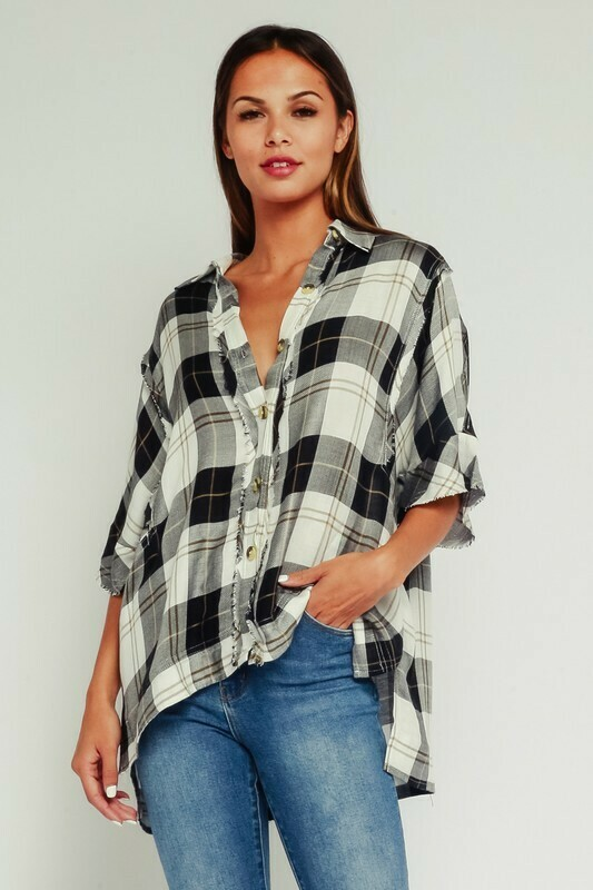 Black Plaid Distressed Button Up Shirt