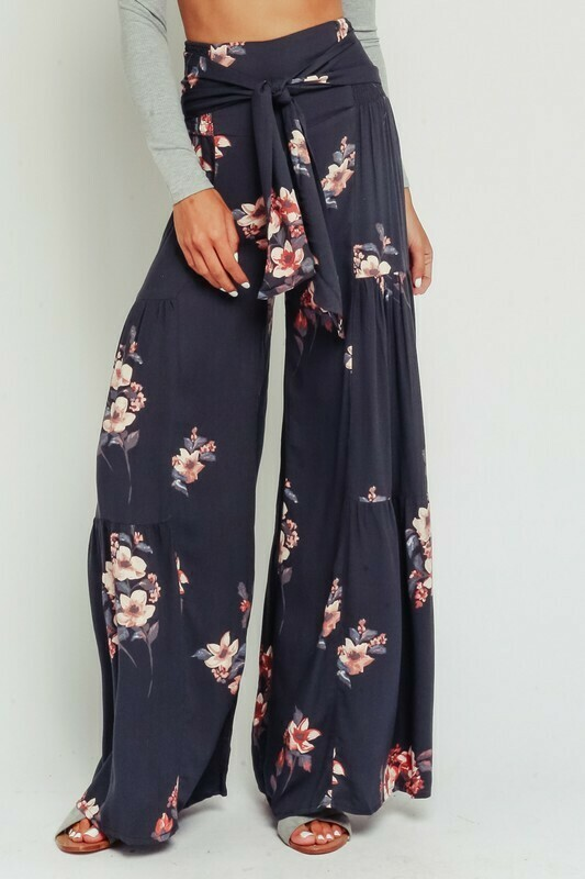 Grey Floral Waist Tie Pants