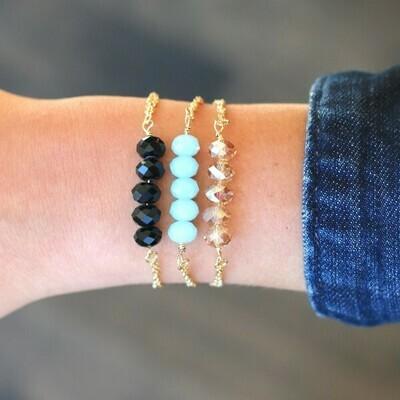 Delicate 5 Stone Chain Bracelet