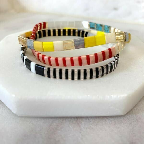 Glass Tile Bead Bracelets