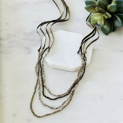 Long Suede and Crystal Bead Necklace