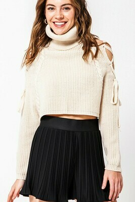 Turtle Neck Lace Up Sweater