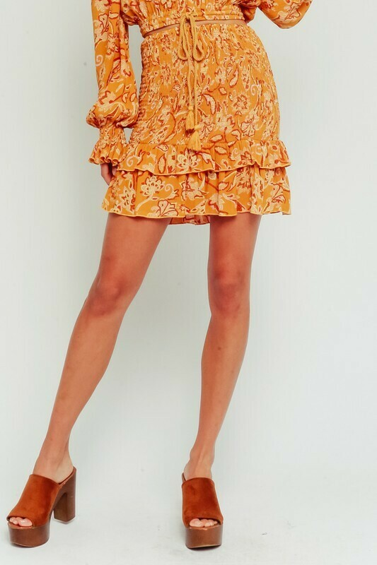 Golden Paisley Smocked Ruffle Skirt