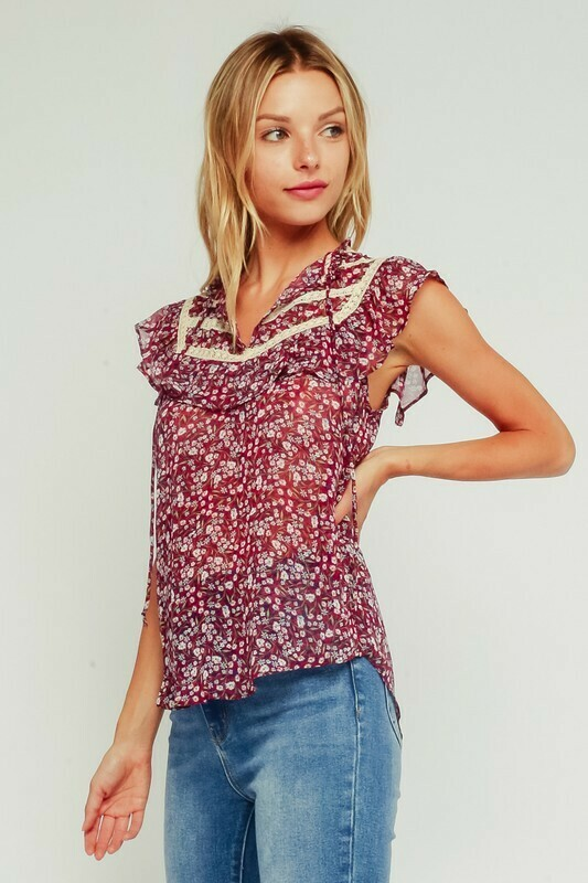 Raspberry Floral Ruffle Tank Top