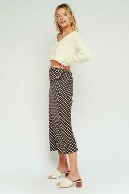 Olive Striped Midi Skirt