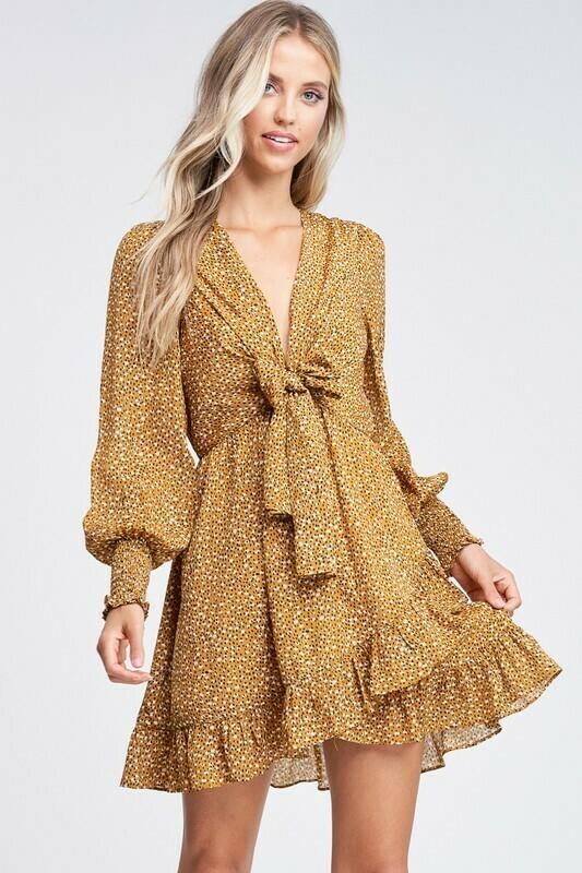 Print Ruffle Mini Dress