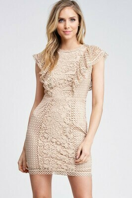 Crochet Mix Ruffle Mini Dress