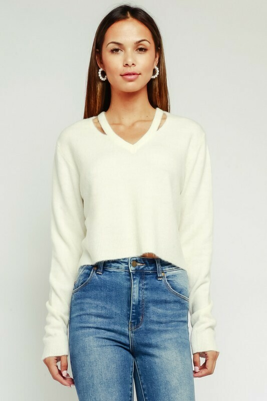 Cutout V Neck Fuzzy Sweater