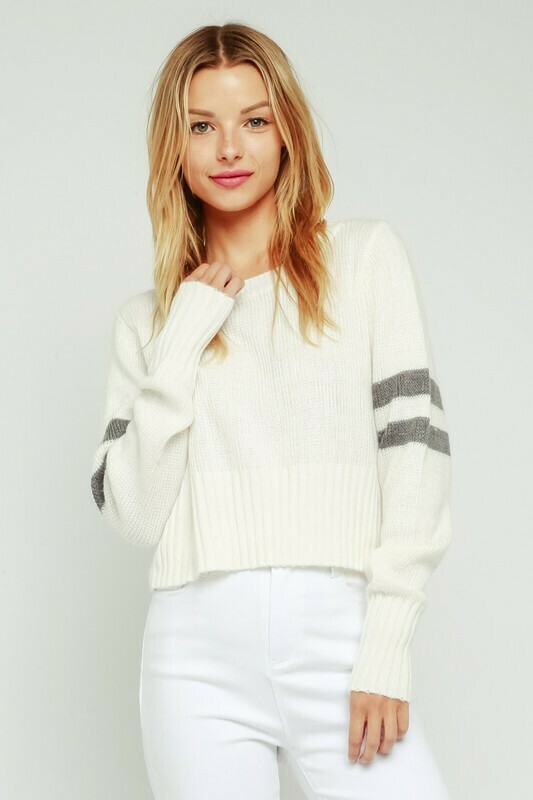 Striped Sleeve Throwover Sweater