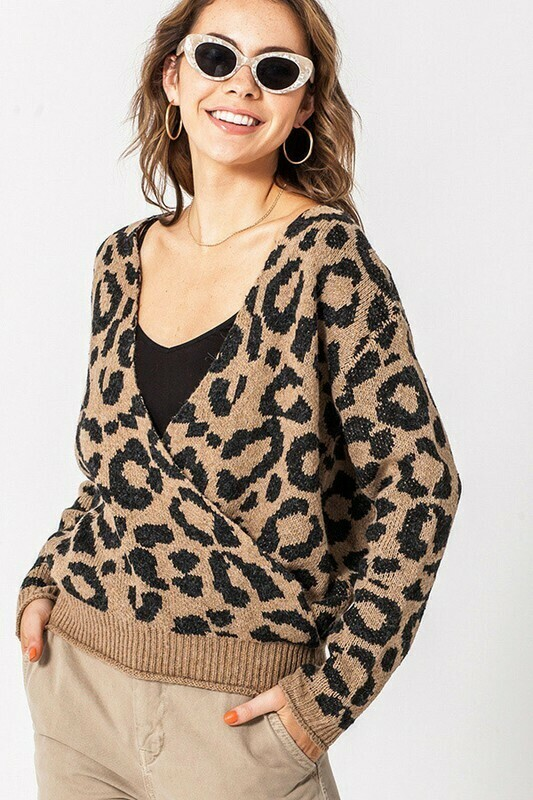 Leopard Crossover Sweater