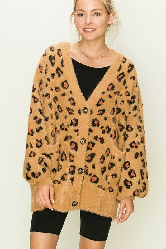 Fuzzy Leopard Print Button Up
