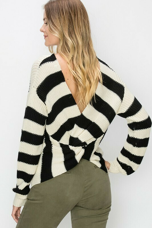 Striped Twisted Back Sweater