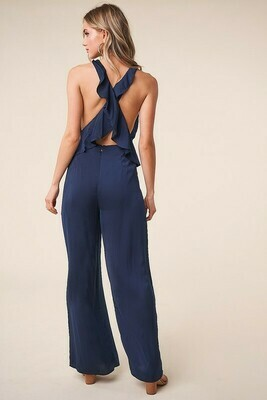 Endless Moment Cross Back Wide Leg Jumpsuit