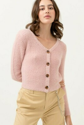 Fuzzy V Neck Button Up Knitted Cardigan